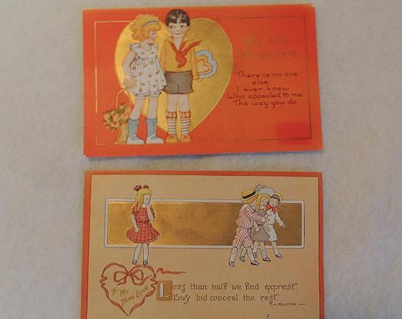 2 Vintage Valentine Postcards.. Boy Girl Children embossed & Gold.. 1910