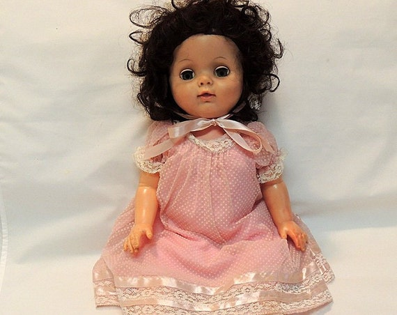 """Vintage Drinking Wetting 21"""" Hard Plastic Toddler Doll..  Sweet Pink Outfit"""