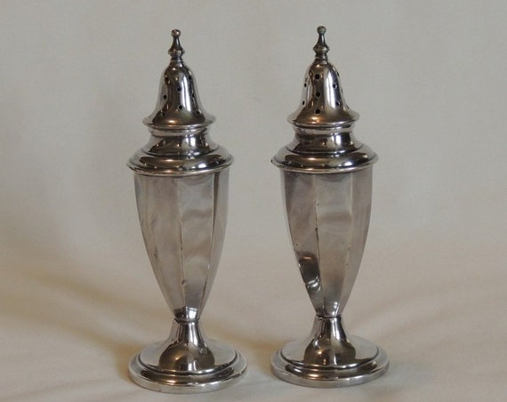 """Vintage Forbes Silver Plate EPNS Salt & Pepper Shakers.. Pre 1935 Art Deco 5.25"""".. Free Shipping"""