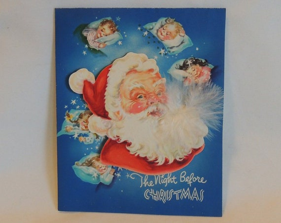 Vintage Unused The Night Before Christmas Greeting Card.. Santa Feather Beard