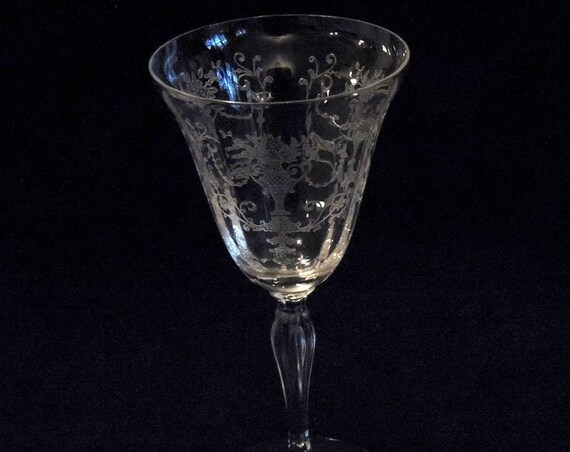 Fostoria Glass Florentine Etch 1930s-40s Water / Wine Goblet.. 8 oz. (#1)