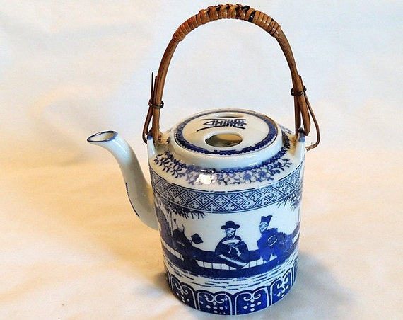 Vintage Blue & White Porcelain Teapot.. Made In Japan.. Figures And Bamboo Handle