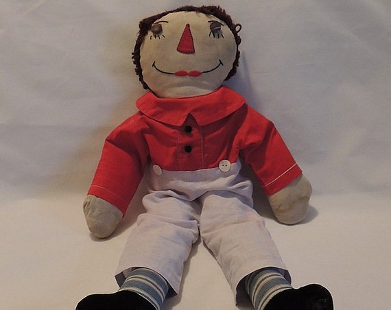 """Vintage 20"""" Raggedy Andy Doll.. Handmade Primitive Folk Art.. Removable clothes"""