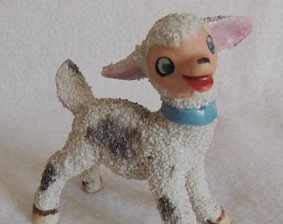 Vintage 1950's Salt Glazed Anthropomorphic Textured Lamb / Sheep Figurine