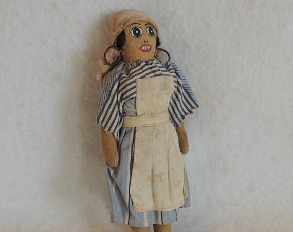 "Vintage Antique Folk Art 7"" Cloth Doll.. Primitive Black Americana.. Very Old!"