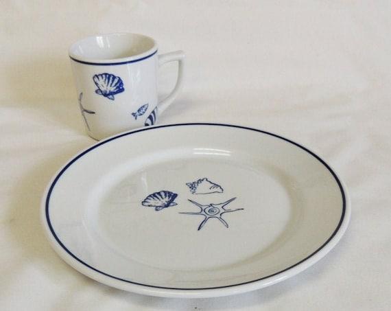 "Rosanna Elliot Bay 9"" Plate & Mug.. Blue Seashells On White.. Beach Decor (#4)"