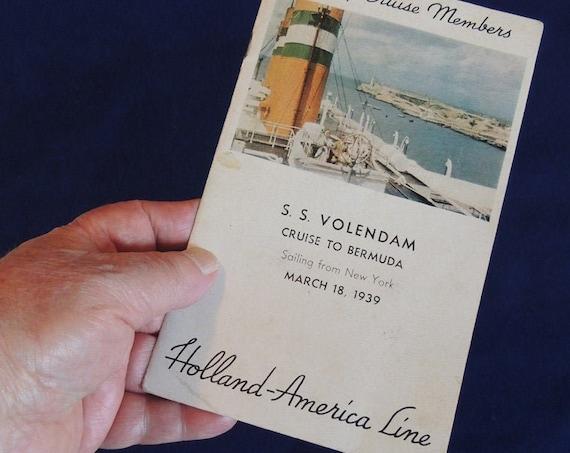 1939 Holland America VOLENDAM N Y To Bermuda Cruise Itinerary & Passenger List