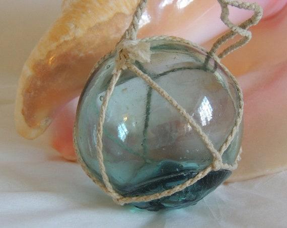 """Vintage Japanese Glass FISHING FLOAT.. Net, Sky Blue & Rare """"DG"""" Maker's Mark (#12)"""