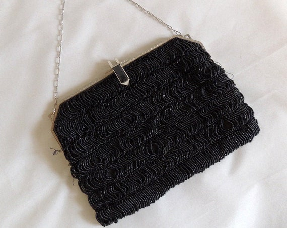 Antique Black Micro Beaded Bag Evening Purse Art Deco Metal Frame