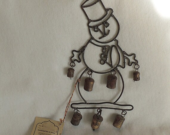 Vintage Handcrafted Iron Wind Chime.. FROSTY THE SNOWMAN With Bells