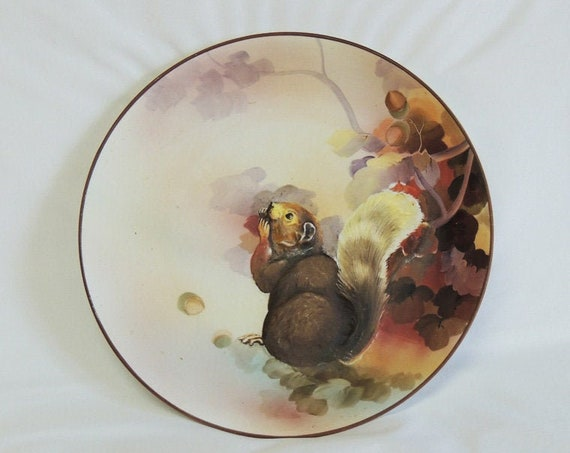 Rare Nippon Hand Painted Relief Molded Squirrel & Nuts Plate.. Early 1900's