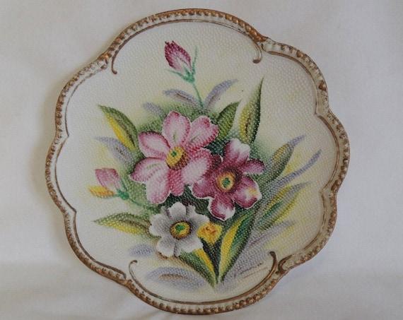 Vintage Ucagco Ceramics Hand Painted Pebbled Floral Plate / Plaque.. Beaded Edge