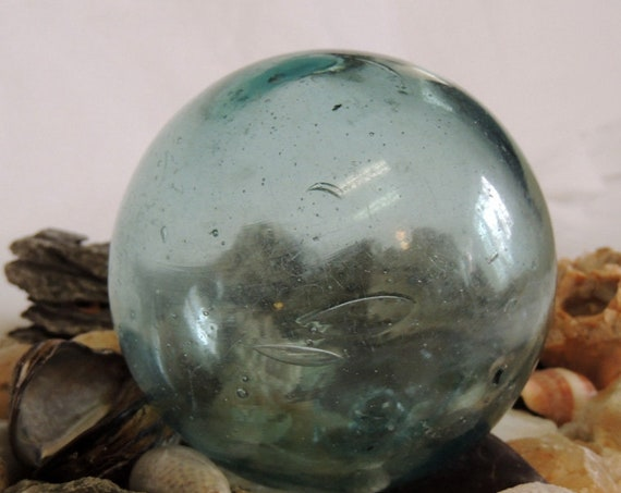 """Vintage 13"""" In Circumference Japanese GLASS FISHING FLOAT.. Aqua Blue, Bubbles & Foreign Matter  (#71)"""