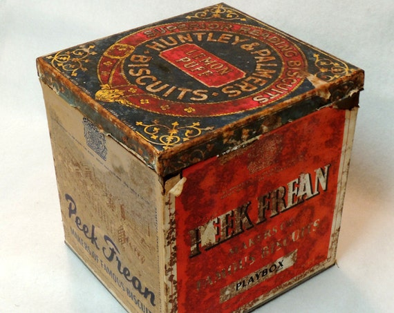 Large Antique English Peek Frean Biscuit Tin, General Store Mercantile Display