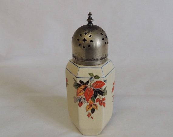 Art Deco Porcelain Sugar Shaker Muffineer.. Leaf Design & Metal Top