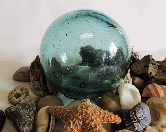 """Vintage 13"""" In Circumference Japanese GLASS FISHING FLOAT.. Azure Blue & Bubbles(#57)"""