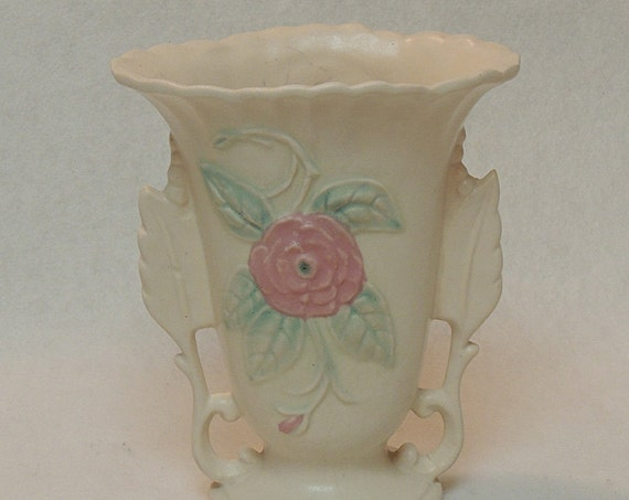 Vintage Hull Pottery USA  Open Rose Vase.. 138 - 6 1/4 Inch