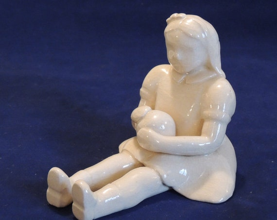 Vintage Mid Century Handcrafted Pottery Figurine.. Modernist Girl With Ball