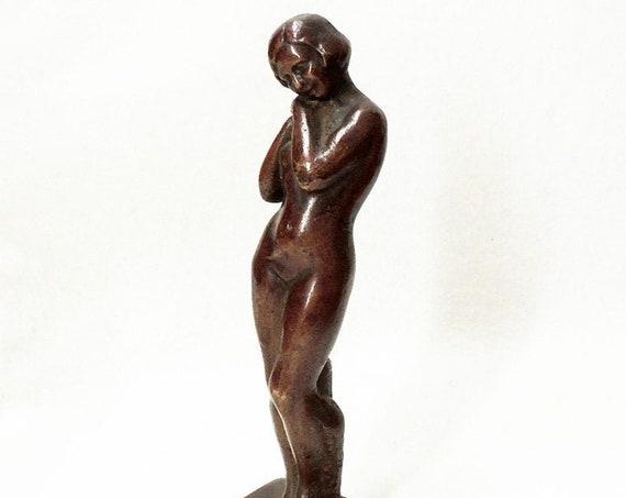 "Vintage 7.5"" Solid Cast Bronze Art Deco Nude Girl Statue.. Fine Detail"