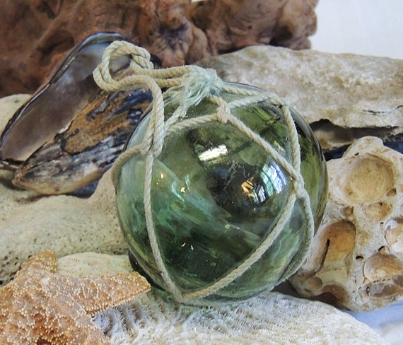 Rare Vintage Japanese Glass FISHING FLOAT Original Net & Makers Button Seal Mark (#3)