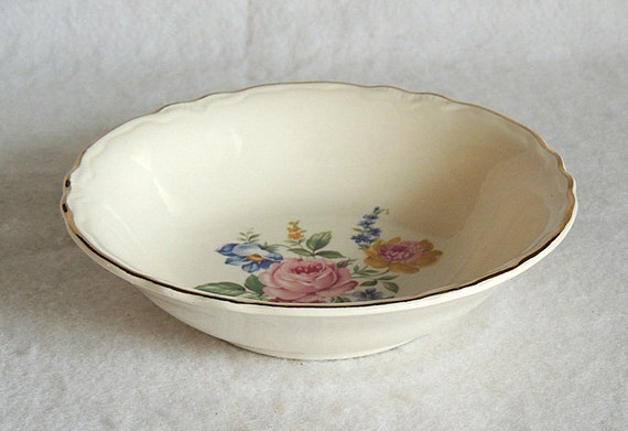 "Vintage Scio Pottery 6"" Cereal Bowl In Hazel Pattern.. Cottage Floral USA"