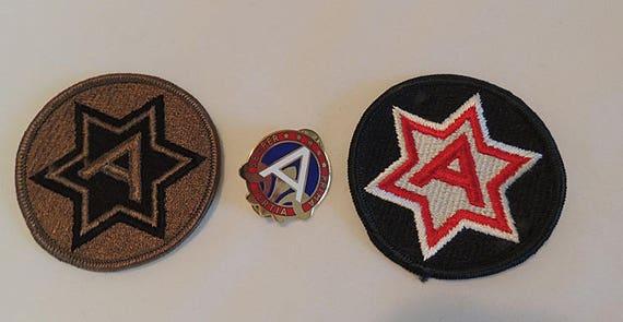 Vintage US Military 3rd Army Unit Di Dui Semper Prima Tertia Pin & 2 patches