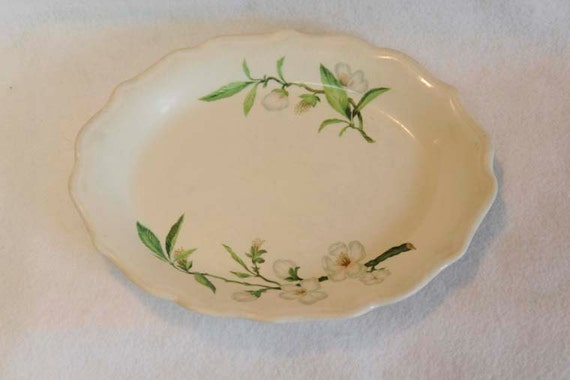 "Vintage 1950's SYRACUSE RESTAURANT CHINA Oval Scalloped 12"" Platter.. Park Lane Apple Blossom (Listing # 2)"