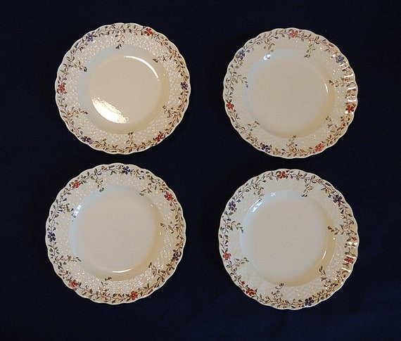 4 Vintage Copeland Spode Wicker Dale 6 5/8 Inch Bread Plates.. Old Mark