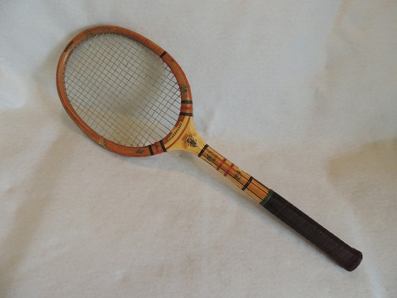 Vintage Slazengers Excelsis Wood Cane Handle Tennis Racquet & Press Vise