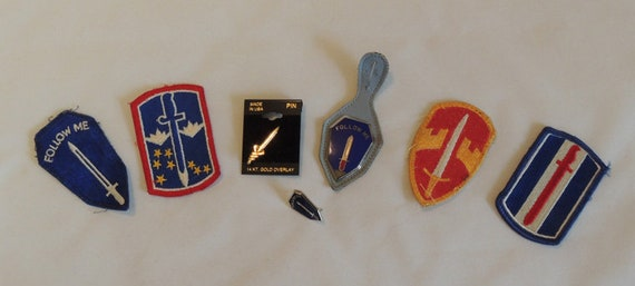 7 Vintage Military U S Army 24th Infantry Division Patches Pins & Leather Tab Follow Me