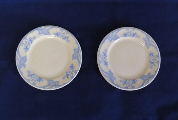 2 Vintage  Shenango China Rose Point Blue Restaurant Ware 5 1/2 Inch Plates