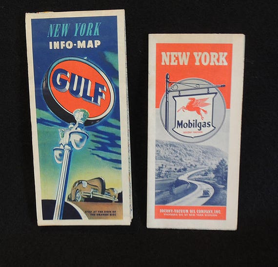 2 Vintage 1940s Highway Road Maps.. New York.. Gulf Oil & Mobil Gas Standard Oil