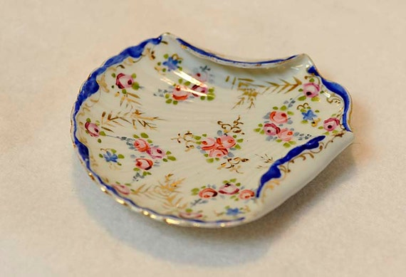 Vintage Antique Nippon Cobalt Blue & Pink Hand Painted Scallop Shell Dish / Plate
