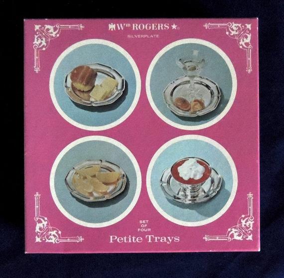 "4 Vintage Wm Rogers Silverplate 6"" Trays In Original Box"
