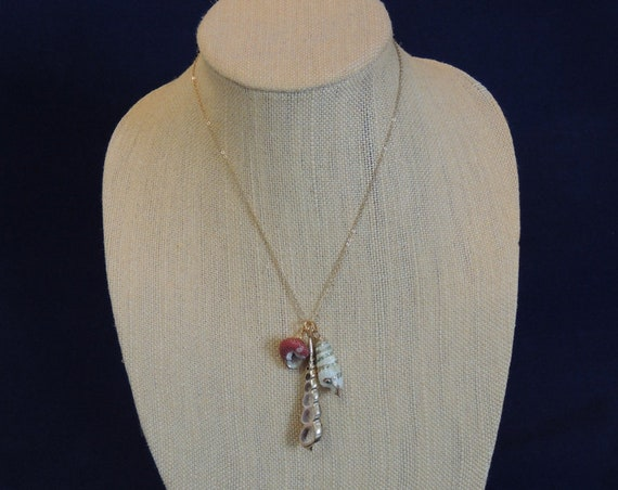 """Real 3 Sea Shell Seashells Gold Gilded Pendant Necklace.. 18""""  Chain (No.2)"""