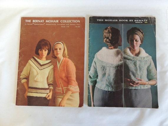 2 Vintage 1960s Bernat Mohair Knitting Pattern Books.. No. 95 & No. 118