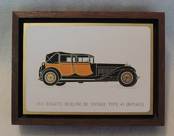 Original vintage Auto Plaque Picture.. Acid Etched Metal & Enamel.. 1931 BUGATTI