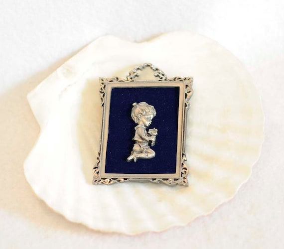 Vintage Genuine Pewter Framed Miniature Plaque.. Boy With Flowers.. Italy