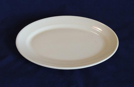 "White Ironstone Platter 12.5"".. Vintage Farmhouse Wallace Restaurant Ware"