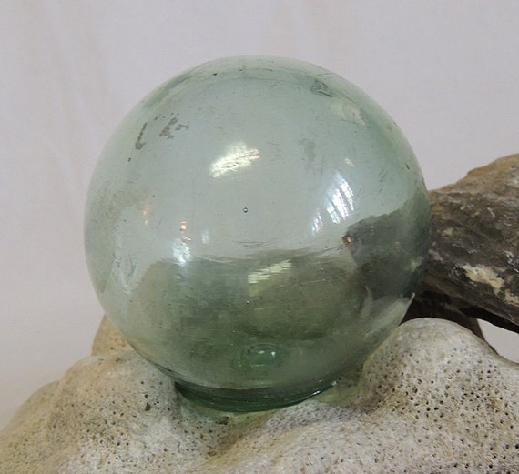 Vintage Japanese Glass Fishing Float.. Moss Green, Rare Kanji Makers Mark (#72)