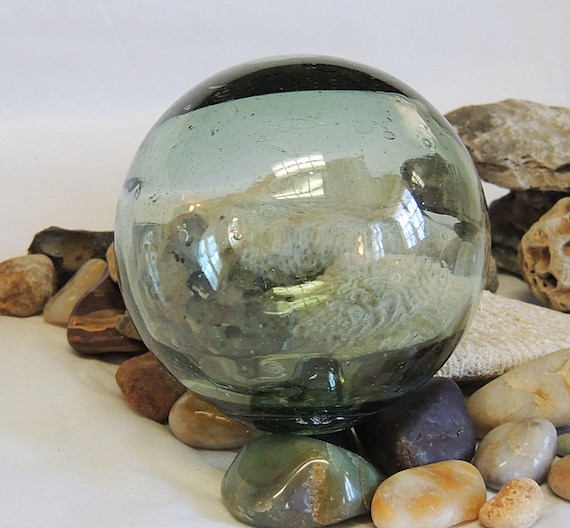 """Vintage 13.5"""" In Circumference Japanese GLASS FISHING FLOAT Many Bubbles (#36)"""