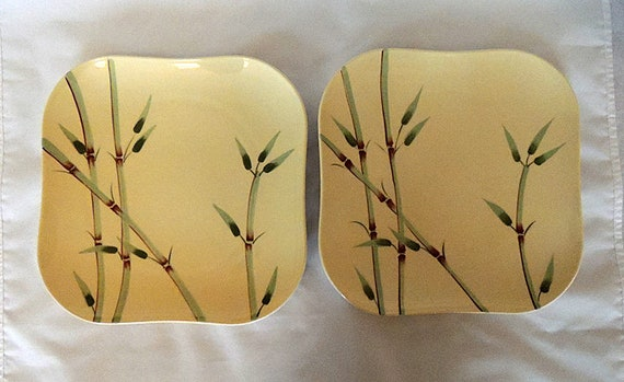 2 Vintage Weil Ware Bambu Square Dinner plates.. Bamboo Yellow