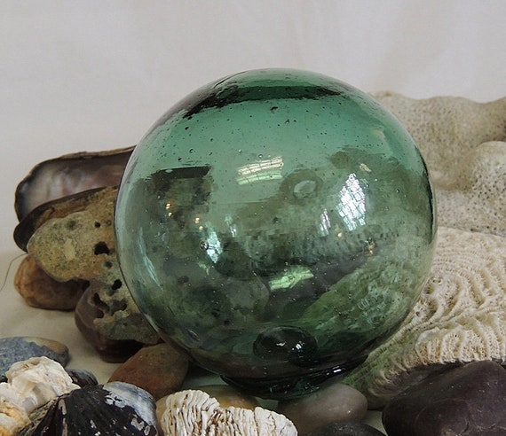 Vintage Japanese Glass FISHING FLOAT.. Makers Button Seal Mark, Teal Green (#17)