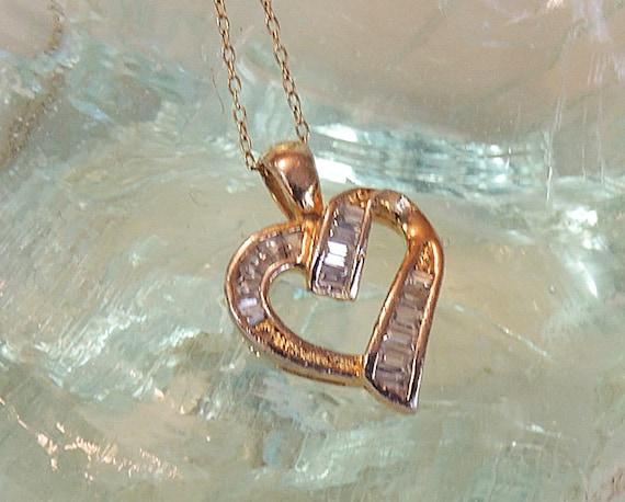Vintage Gold Sterling Silver JJ Openwork Heart Pendant Necklace Baguette CZ's (#83)