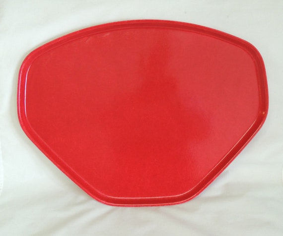 Vintage Red Mid Century Retro Classic Cafeteria Serving Tray.. Trapezoid Shape