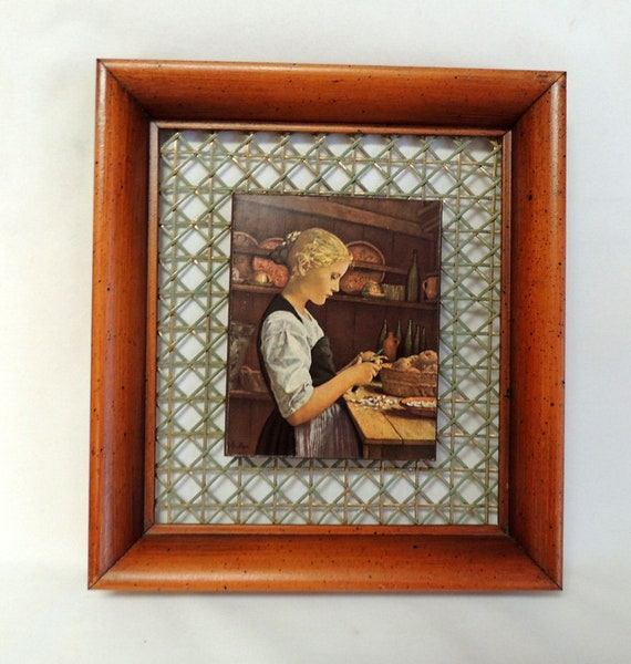 Vtg Framed Wood & Metal Plaque Picture.. Girl Peeling Potatoes.. Cottagecore