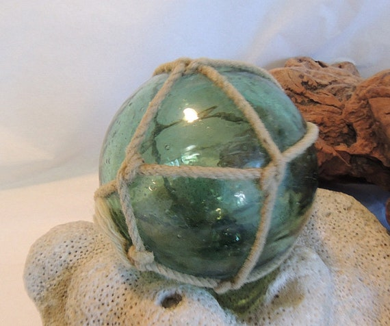 Vintage Japanese Glass FISHING FLOAT. Net, Many Bubbles, Olive Green  (#46)