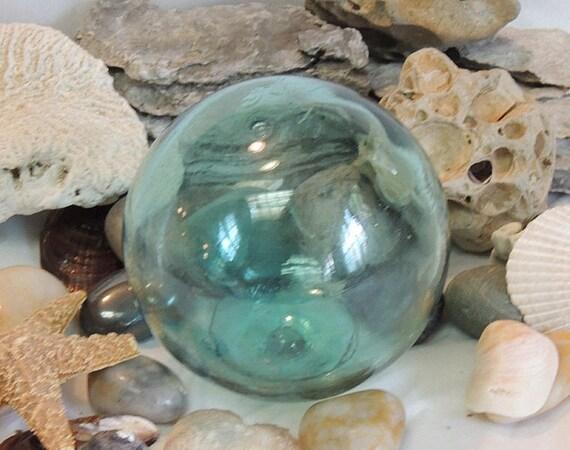 Vintage Japanese GLASS FISHING FLOAT.. Makers Mark & Pale Aqua Blue (#62)