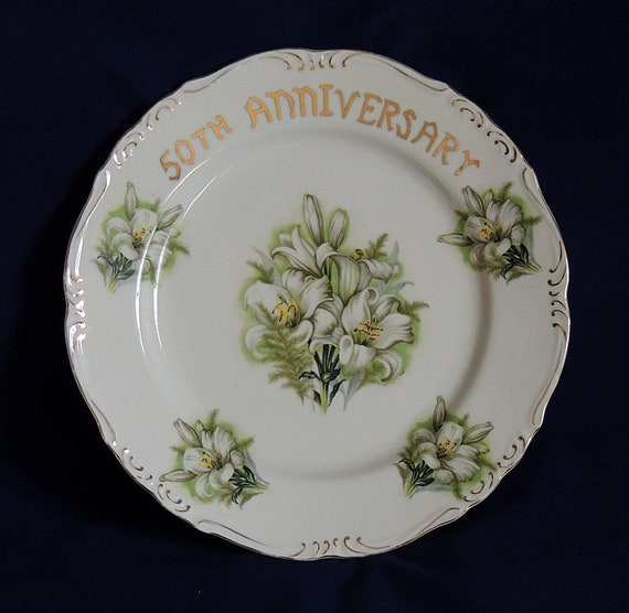 Vintage Ten Inch 50th Anniversary Plate.. Lilies On White Plate W Gold Trim