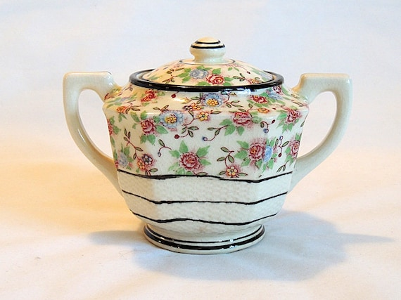 Vintage Chintz Calico Floral Sugar Bowl With Lid..  Japan Pre WWII Export Ware